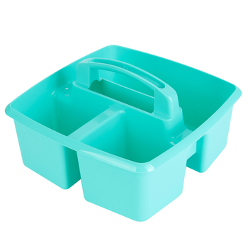Storex, Small Caddy, Teal,  3 Compartments, Plastic, 9.25 x 9.25 x 5.25 Inches, 1 Piece