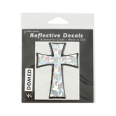 Elektroplate, Tapered Cross 3D Reflective Car Decal, Silver, 2 1/4 x 3 1/8 inches