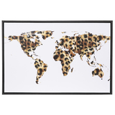 Leopard Print World Map Wall Decor, Canvas, Black and Brown, 24 x 36 x 1 1/2 inches
