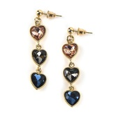 Faithful and Fabulous, Bling 3 Hearts Dangle Earrings, Zinc Alloy and Glass, Gold