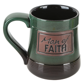 Abbey and CA Gift, Man of Faith Pottery Mug, Ombre Brown and Turquoise, Large 20 Ounces