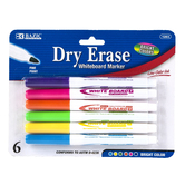 Bazic Products, Dry-Erase Markers, Fine Point, 1 Each of 6 Colors
