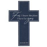 Jeremiah 29:11 For I Know The Plans Wood Wall Cross, Blue, 7 7/8 x 11 3/4 x 3/8 inches