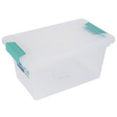 Sterilite, Medium Clip Box, Clear & Aqua, 11 x 6 1/2 x 5 1/4 inches