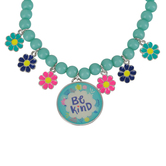 Glitter and Grace, Ephesians 4:32 Be Kind Flower Charm Bracelet, Turquoise and Silver