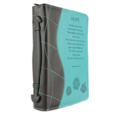 Christian Art, Hope Bible Cover, Duo-Tone, Turquoise and Brown, Multiple Sizes Available