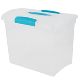 Sterilite, Large Show Off Clear Storage Box With Blue Lid, 15.25 x 9.75 x 11.50 Inches, 2 Pieces