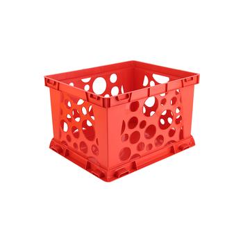 Storex, Premium File Storage Crate, Red, 17.25 x 14.25 x 10.50 Inches, 1 Piece