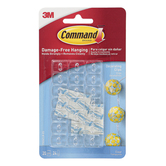 Command, Decorating Clips, Clear, 3/4 x 1/2 x 1/4 inches Each, 20 Clips & 24 Adhesive Strips