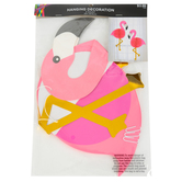 Flamingo Hanging Decorations, Paper, Pink, 17 1/2 x 13 Inches, 2 Count