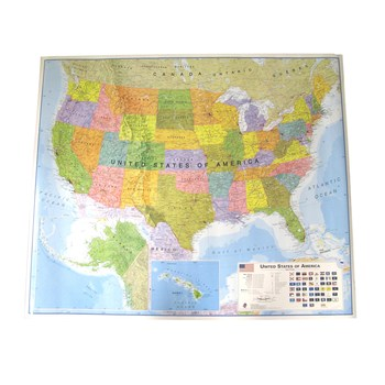 Hema Maps, Laminated United States Map with Flags, 45.5 x 37.5 Inches, Multi-Colored, 1 Piece