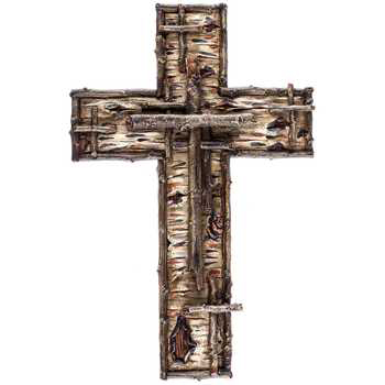 Rustic Wood Look Wall Cross, Brown, 12 1/4 x 8 inches