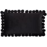 Black Velvet Lumbar Pillow with Pom Poms, Polyester, 20 x 12 x 4.50 Inches