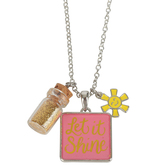 Glitter and Grace, Matthew 5:16 Let It Shine Charm Necklace, Pink and Silver, 16 inch Chain