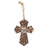 Faith Over Fear Cheetah Print Mini Wall Cross, MDF, 5 1/2 x 4 inches
