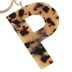 P Letter Keychain, Leopard, 2 3/4 x 2 1/4 Inches