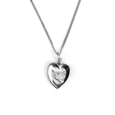 H.J. Sherman, Heart With Dove Necklace, Silver Plated Chain, 18 inches