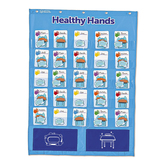 Learning Resources, Healthy Hands Pocket Chart, Blue, 22 x 29.50 Inches, 96 Pieces