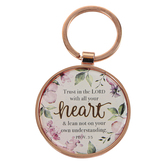 Christian Art Gifts, Proverbs 3:5, Trust In The Lord Keyring in Tin, Metal, Rose Gold, 3 x 2 inches