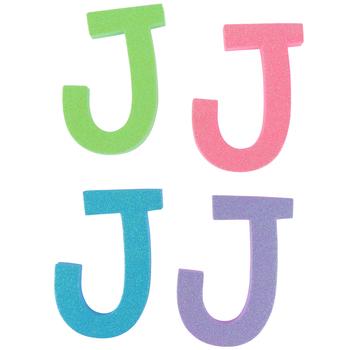 Glitter Foam Alphabet Letter Upper Case - J, 4 x 5.5 x .50 Inches, 1 Each, Assorted Colors