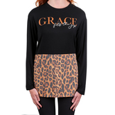 Rooted Soul, Grace Fills the Gap, Women's Long Sleeve Color Block Top, Black and Leopard, Small
