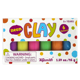 Toysmith, Mini Neon Clay, 1.5 Ounces, 3 x 1.75 Inches, Six Colorful Sticks, Ages 5 and up, 1 Each