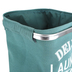 Deluxe Laundry Basket, Metal and Canvas, Green and White, 13 1/2 x 13 1/2 x 19 1/2 inches