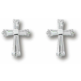 Small Cross With Cubic Zirconia Earrings