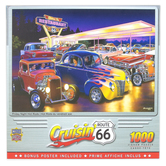 MasterPieces, Cruisin' Route 66 - Friday Night Hot Rods Jigsaw Puzzle, 1000 Pieces, 19 1/4 x 26 3/4 inches