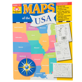 Evan-Moor, Maps of the USA Teacher Reproducible, Paperback, 304 Pages, Grades 1-6
