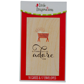 DaySpring, Little Inspirations, Luke 2:7 O Come Let Us Adore Him Boxed Christmas Cards, 3 3/8 x 6 inches, 16 cards