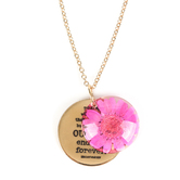 Faith in Bloom, Isaiah 40:8 Gold Medallion Pendant Necklace, Brass, Gold, 20 Inch Chain