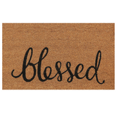 Blessed Doormat, Coir, Brown & Black, 18 x 30 inches