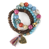 Radiant Sol, Jeremiah 31:3 Beaded Stretch Bracelet Set, Acrylic and Wood, Assorted Colors, 3 Pieces