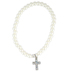 Collectables America, Pearl Beaded Bracelet with Cross, Glass Beads, 6 1/2 inches