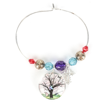 Faith in Bloom, Beaded Bangle Bracelet with Cross and Tree, Glass and Iron, Silver