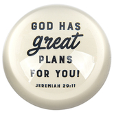 Christian Brands, Jeremiah 29:11 Glass Dome Paperweight, Cream, 3 x 1 1/4 inches