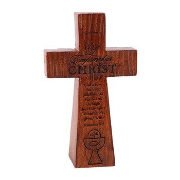 Dicksons, Confirmed in Christ Table Cross, Woodgrain, 5 inches