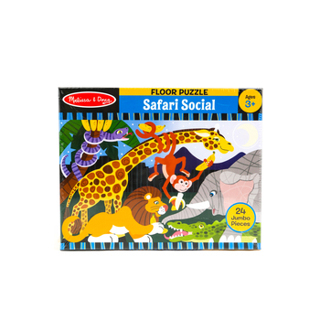 Melissa & Doug, Safari Social Floor Puzzle, Ages 3 to 5 Years Old, 24 Pieces