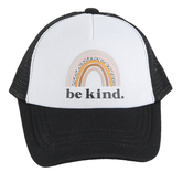 Tiny Trucker Co., Be Kind Boho Rainbow Adjustable Toddler Cap, Polyester & Nylon, White & Black