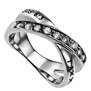 Spirit & Truth, Song Of Solomon 6:3, I Am My Beloved's, Women's Twin Band Ring, Stainless Steel, Size 5