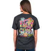 Cherished Girl, Let Your Faith in God Be Bigger Than Your Fears, Women's T-Shirt, Charcoal