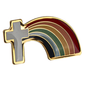 H.J. Sherman, Cross with Rainbow Lapel Pin, Gold Plated, 1 x 1/2 inches