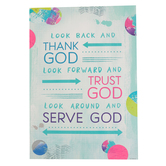 Renewing Minds, Look Back And Thank God Look Forward Motivational Poster, 13.25 x 19 Inches, 1 Piece