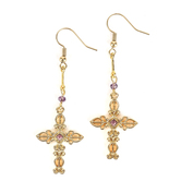 By His Grace, Ornate Cross with Amethyst Crystal Dangle Earrings, Zinc Alloy and Brass, Gold