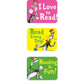 Eureka, Cat in the Hat Reading Success Stickers, 1.38 x 1 Inches, Multi-Colored, Pack of 120