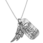 Spirit & Truth, Philippians 4:6-7 Wing and Tag Necklace, Sterling Silver and Cubic Zirconia, 16 inches