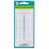 Make A Note, Hook & Loop Industrial Strength Adhesive Squares, White, 7/8 Inch, 12 Sets