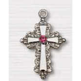 H.J. Sherman, Cross With Pink Crystal  Necklace, 18 inches
