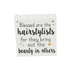 Collins Painting & Design, Blessed Are The Hairstylists Box Sign, MDF Wood, White, 5 x 5 x 1 1/2   inches